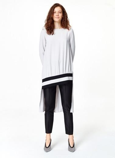 Mizalle Şerit Detaylı Arkası Uzun Tunik Elbise Gri